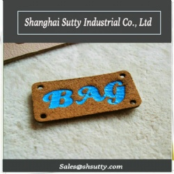 Sew on PU Custom Printed Embossing Leather Labels with Logo for Garment Use
